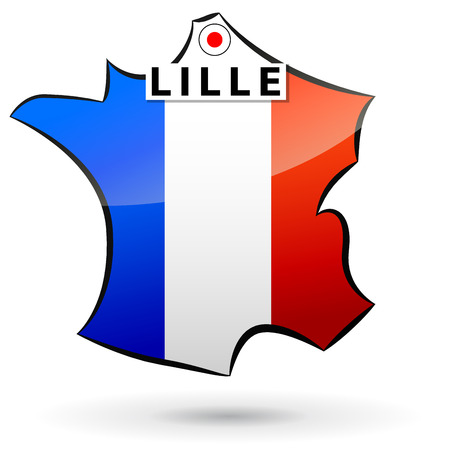 lille: illustration of french map icon for lille