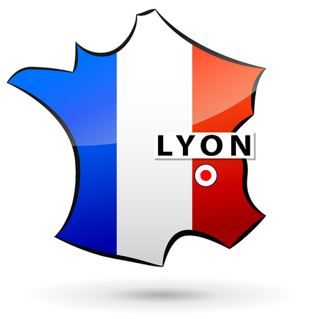 localization: illustration of french map icon for lyon