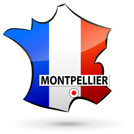 localization: illustration of french map icon for montpellier Illustration