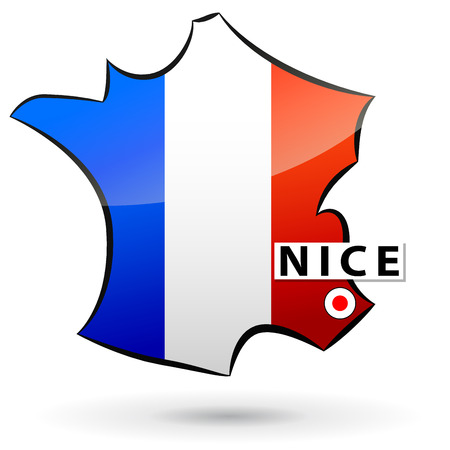 nice france: illustration of french map icon for nice