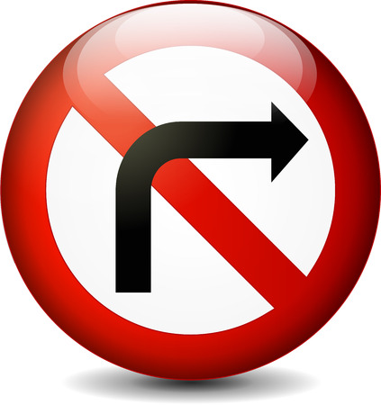 obey: illustration of no left turn sign isolated on white background Illustration