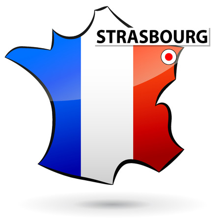strasbourg: illustration of french map icon for strasbourg