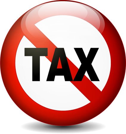 illustration of no tax sign isolated on white background  イラスト・ベクター素材