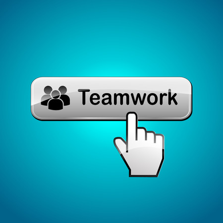 join our team: illustration of teamwork button concept on blue background