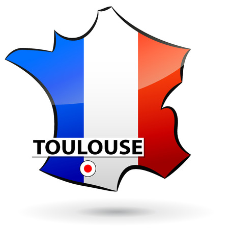 localization: illustration of french map icon for toulouse