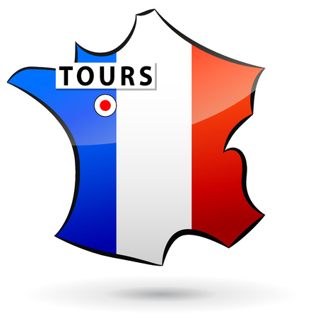 tours: illustration of french map icon for tours