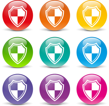 collection of icons of different colors for shield Vector