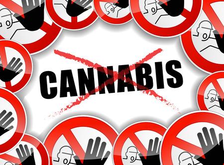 dope: illustration of no cannabis concept background design