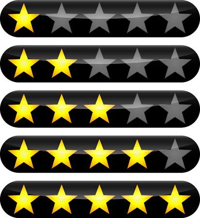 hotel reviews: illustration of rating stars icons design set Illustration