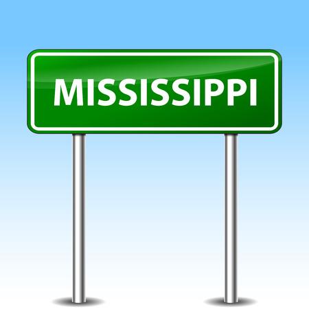 Illustration of mississippi green metal road sign Vector