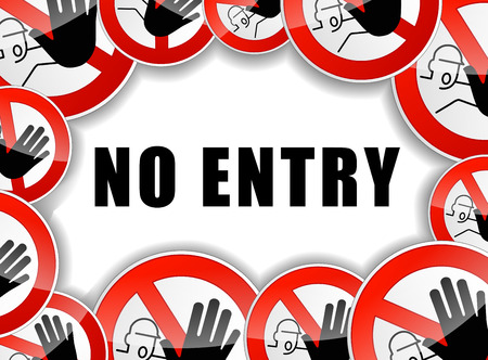 admittance: illustration of no entry sign concept background Illustration