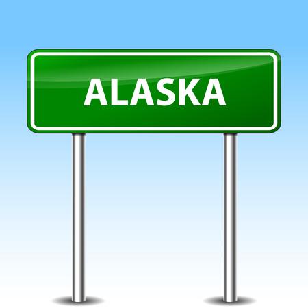 Illustration of alaska green metal road sign Vector