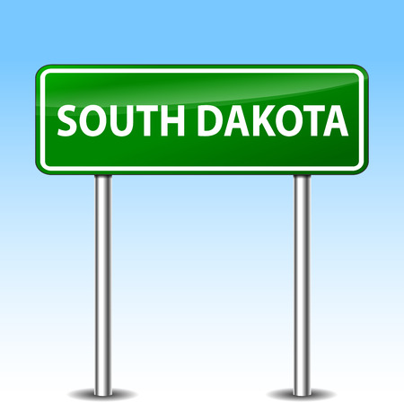 sign board: Illustration of south dakota green metal road sign