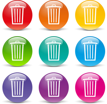 collection of icons of different colors for delete Vector