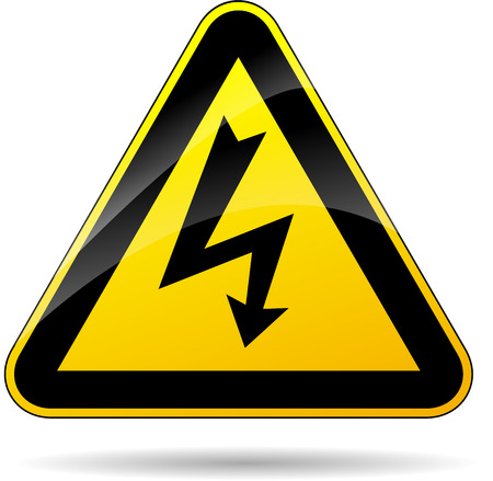 electrical safety: illustration of yellow triangle sign for electricity Illustration