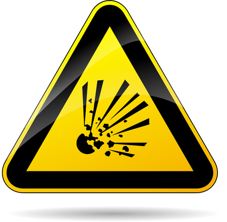 white matter: illustration of yellow triangle sign for explosive