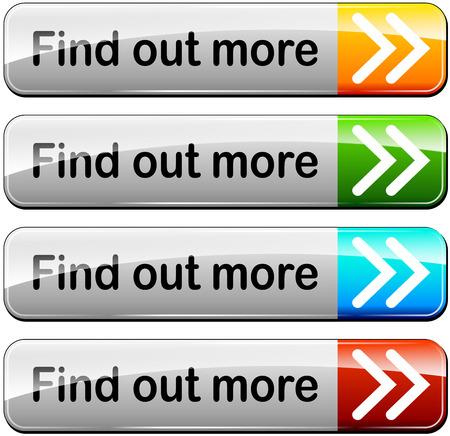 ilustración de averiguar más botones configurados Ilustración de vector