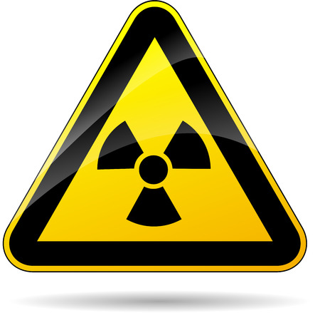 radioactive sign: illustration of yellow triangle sign for radioactivity