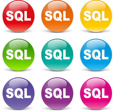 sql: collection of icons of different colors for sql Illustration