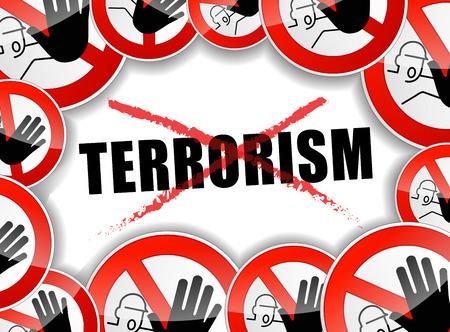 warning against a white background: illustration of no terrorism concept background design