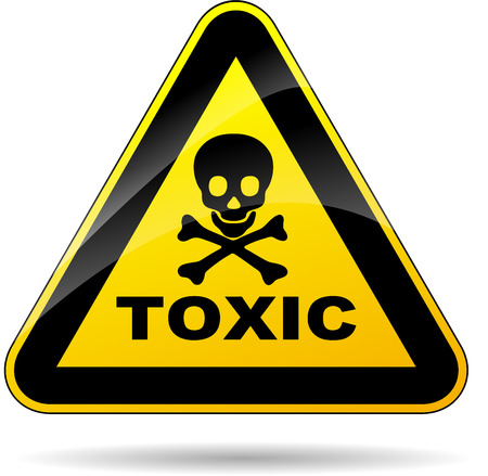 poison sign: illustration of yellow triangle sign for toxicity Illustration