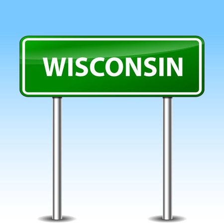 Illustration of wisconsin green metal road sign Vector