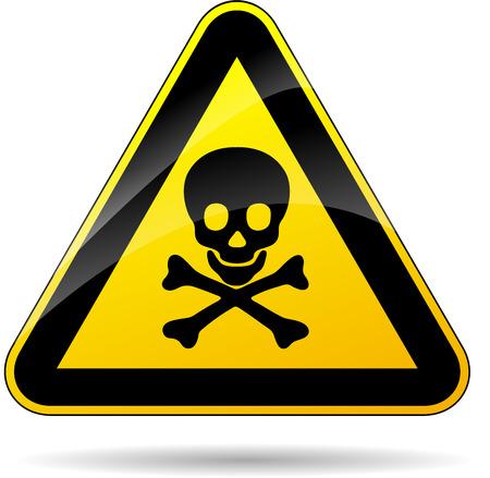 riesgo quimico: ilustraci�n de riesgo de tri�ngulo muertos cartel amarillo