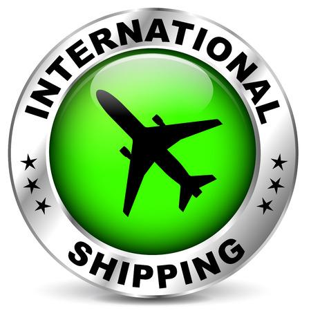 international shipping: illustration of chrome and green icon for international shipping Illustration