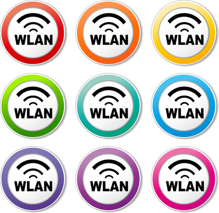 wlan: illustration of various color set of wlan icons
