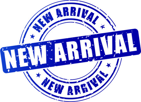 illustration of new arrival blue stamp design icon