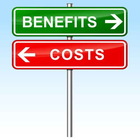 financial: illustration of green and red direction signs for benefits and costs