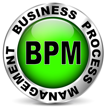 bpm: illustration of business process management green icon Illustration