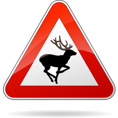 illustration of rectangle warning sign for deer Vector