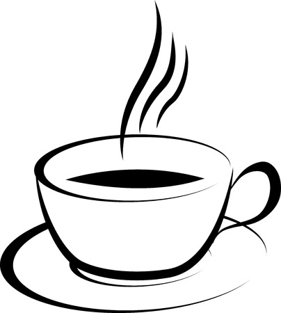 illustration of black and white coffee cup drawing