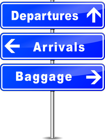 illustration of blue airport signs on white background