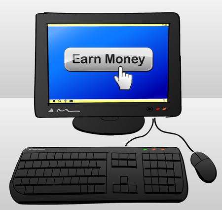 earn money: illustration of computer with earn money button on the screen