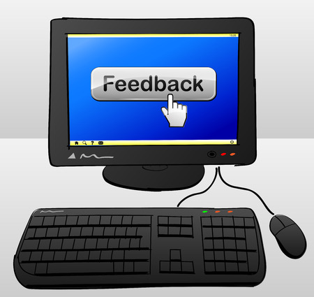 illustration of computer with feedback button on the screen Vector