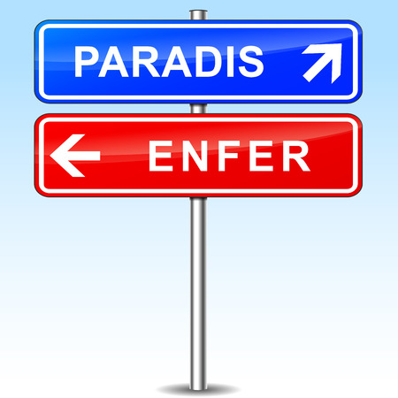 hell: french translation for paradise and hell directions signs