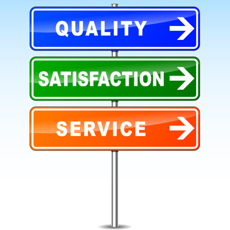 illustration of quality satisfaction and service directional sign