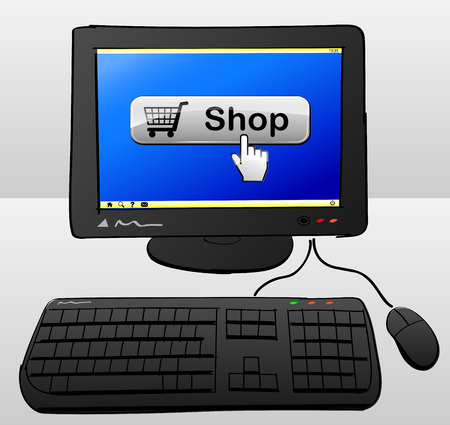 shop button: illustration of computer with shop button on the screen