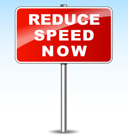 metal sign: illustration of red metal sign for reduce speed