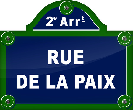 rounding: french translation for street peace blue sign Illustration