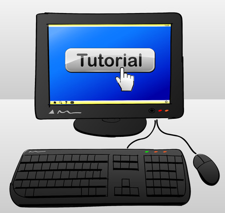 illustration of computer with tutorial button on the screen