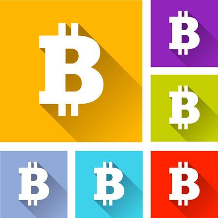 p2p: illustration of flat design set icons for bitcoin Illustration
