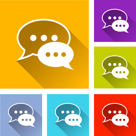 testimonial: illustration of flat design set icons for speech bubbles