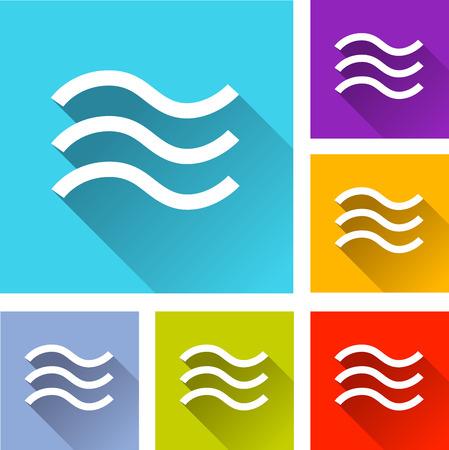 flood: illustration of flat design set icons for flood