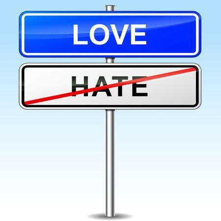 contradiction: illustration of blue directional sign for love Illustration