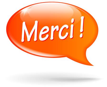 French translation for thanks orange speech bubble Vector