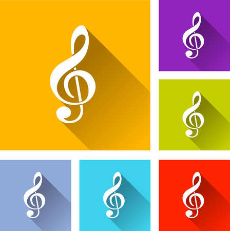 sol: illustration of flat design set icons for music Illustration