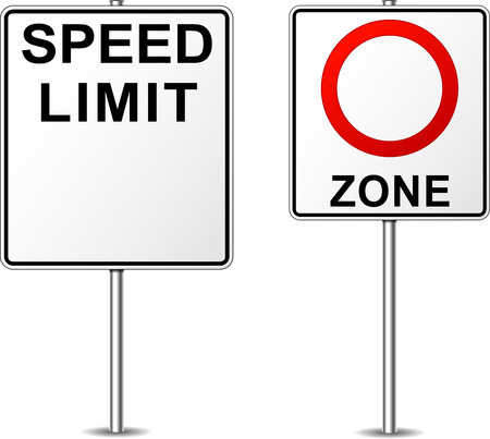 speed limit: illustration of two blank road signs for speed limit